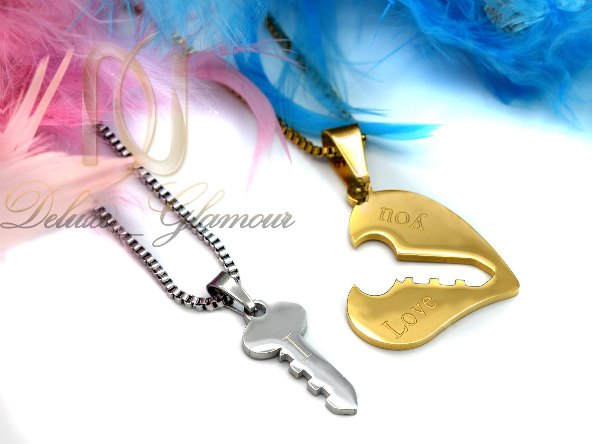 گردنبند ست دوتیکه طرح قلب و کلید mf-n127 از نمای بالا