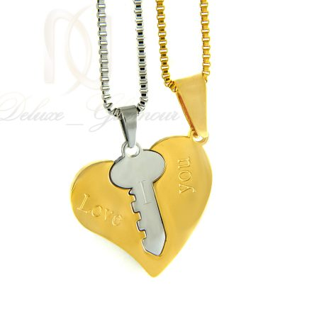 گردنبند ست دوتیکه طرح قلب و کلید mf-n127 از نمای سفید