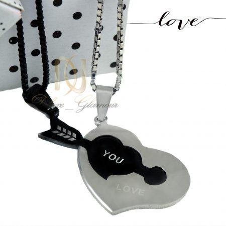 گردنبند ست عاشقانه طرح قلب و تیر mf-n114