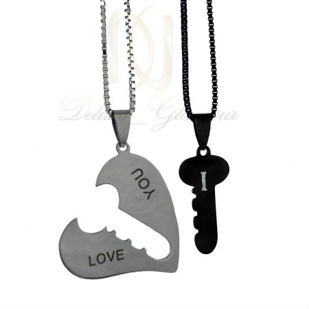 گردنبند ست عاشقانه طرح قلب و کلید mf-n115