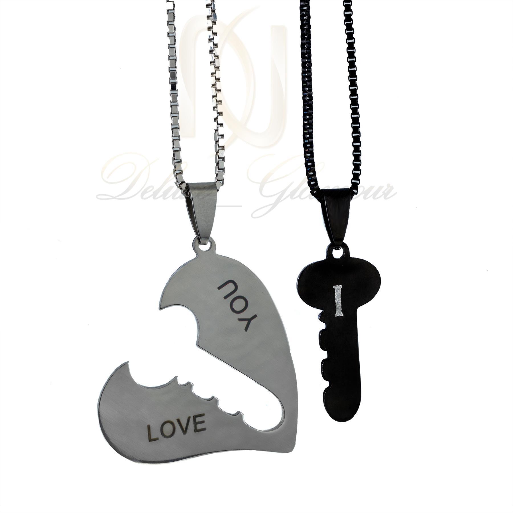 گردنبند ست عاشقانه طرح قلب و کلید mf-n115 از نمای روبرو