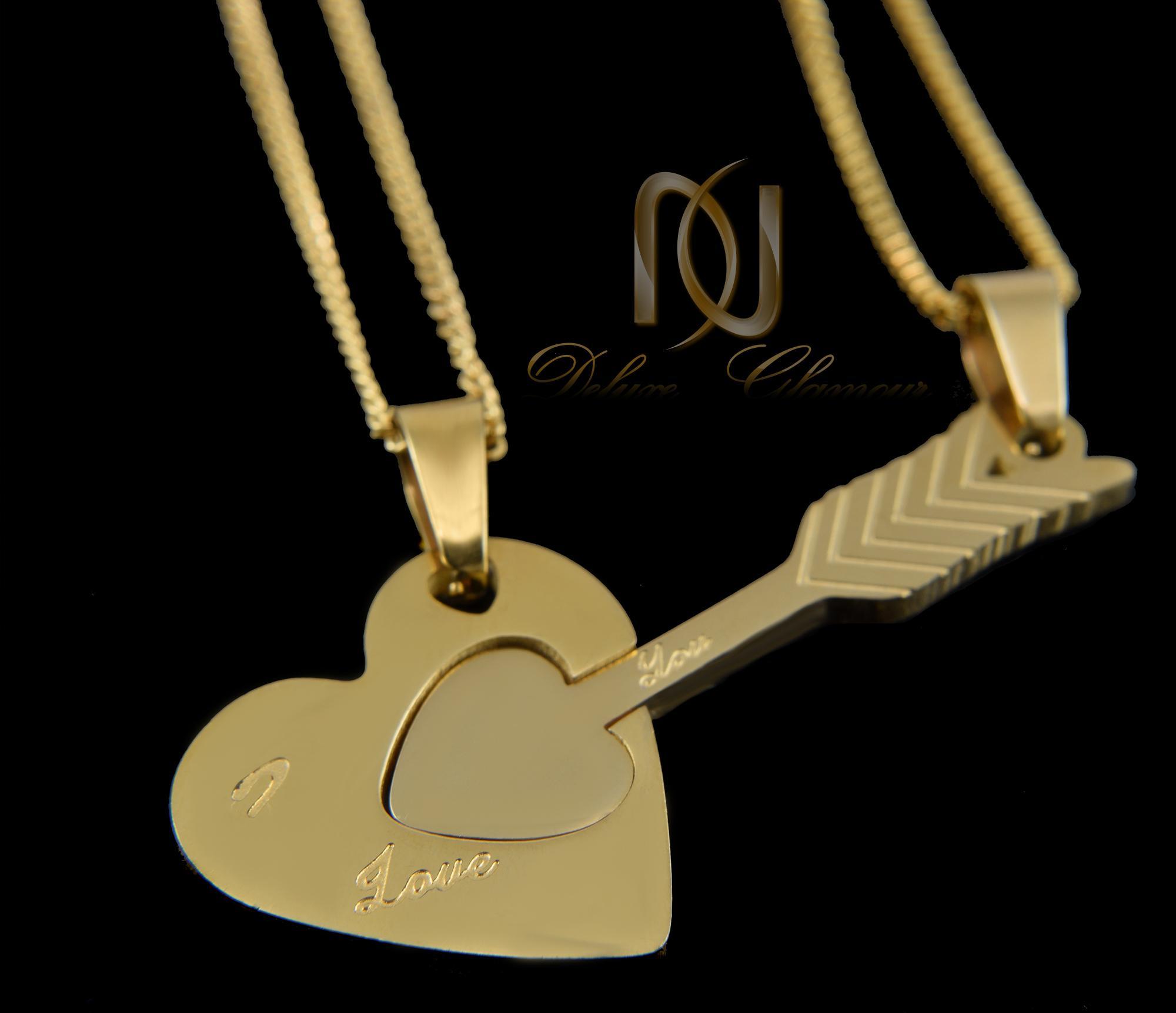 گردنبند ست عاشقانه قلب و تیر mf-n116 از نمای مشکی