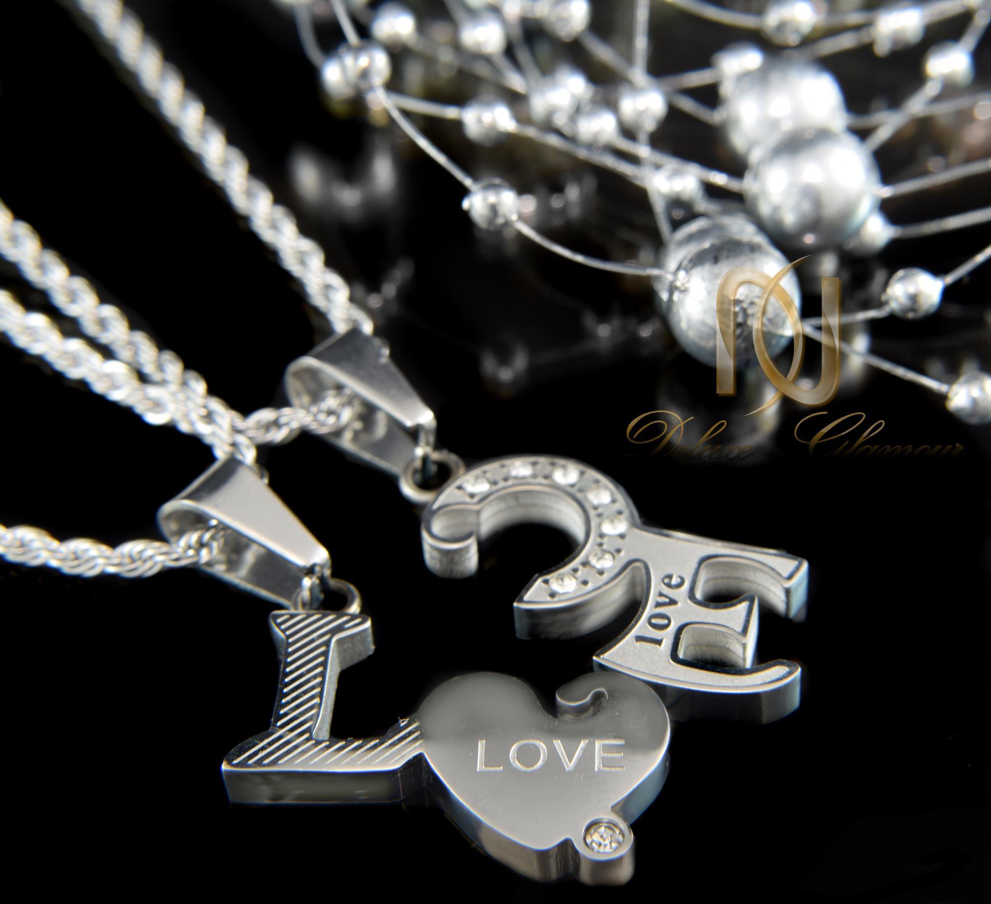 گردنبند ست عاشقانه نقره اي طرح لاو mf-n118 از نماي مشكي