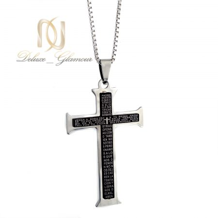 گردنبند مردانه طرح صلیب دو رنگ nw-n402