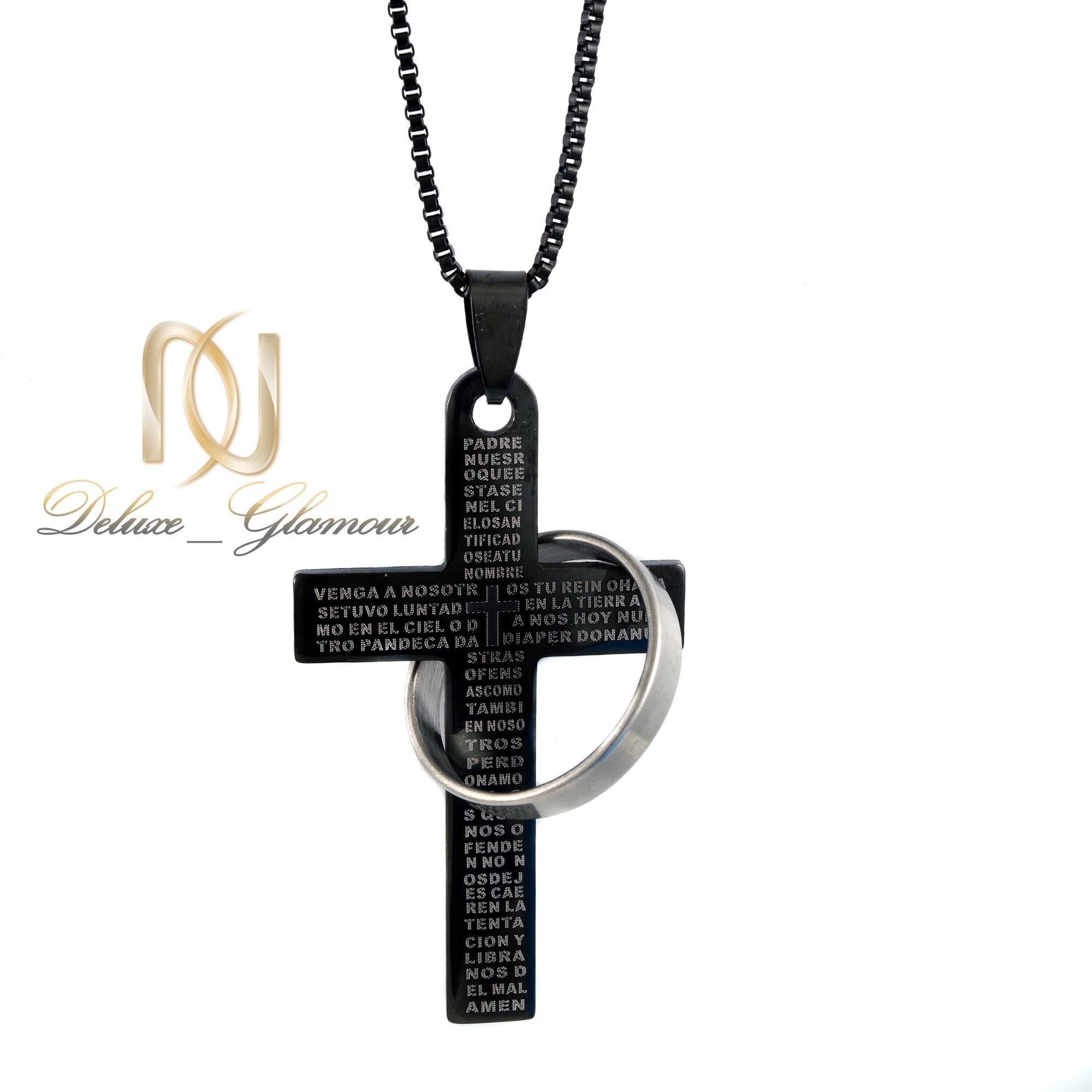 گردنبند مردانه طرح صلیب مشکی Nw-n400 از نمای روبرو