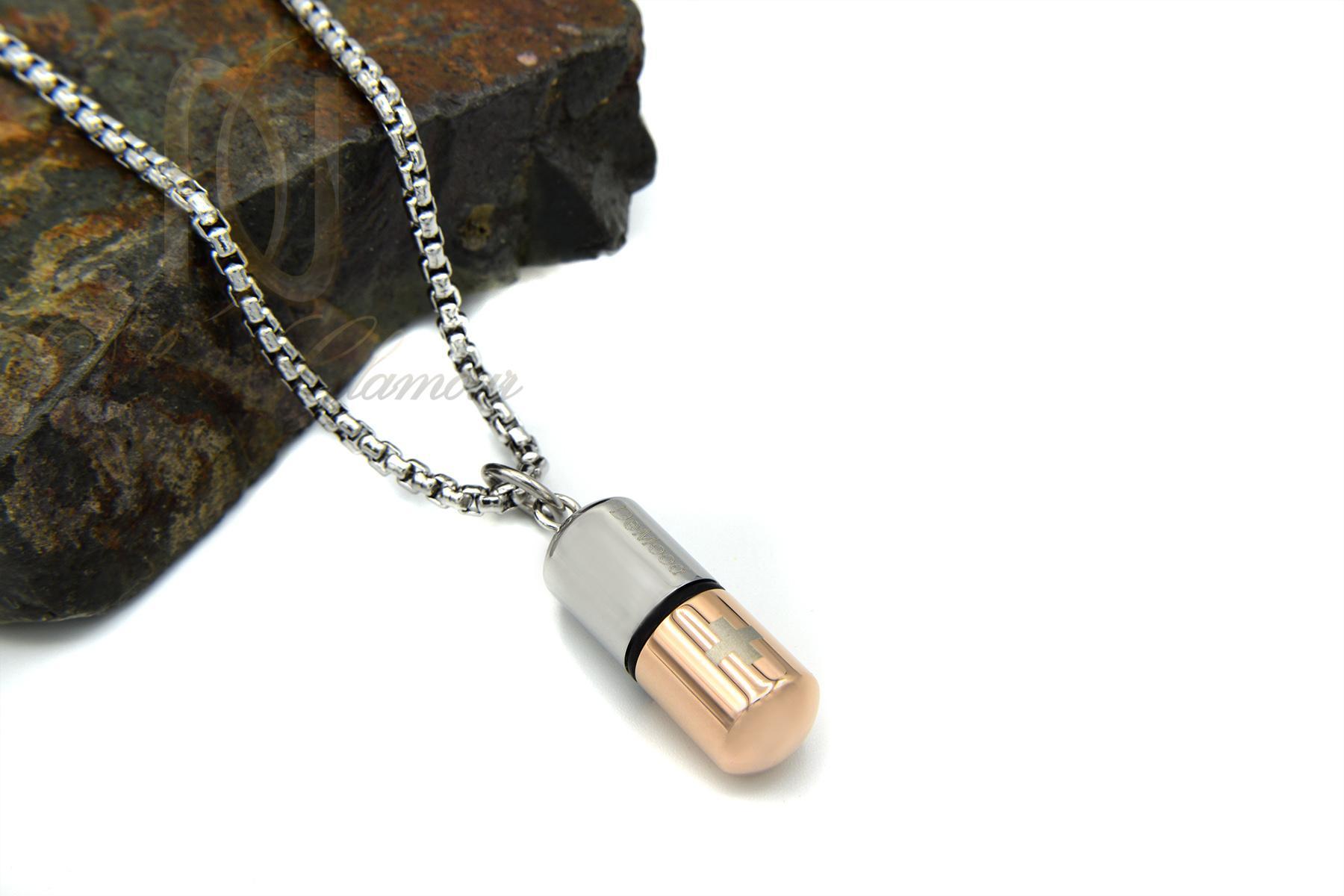 گردنبند مرگردنبند مردانه طرح کپسول سریال عاشقانه nw-n418 از نمای کنار