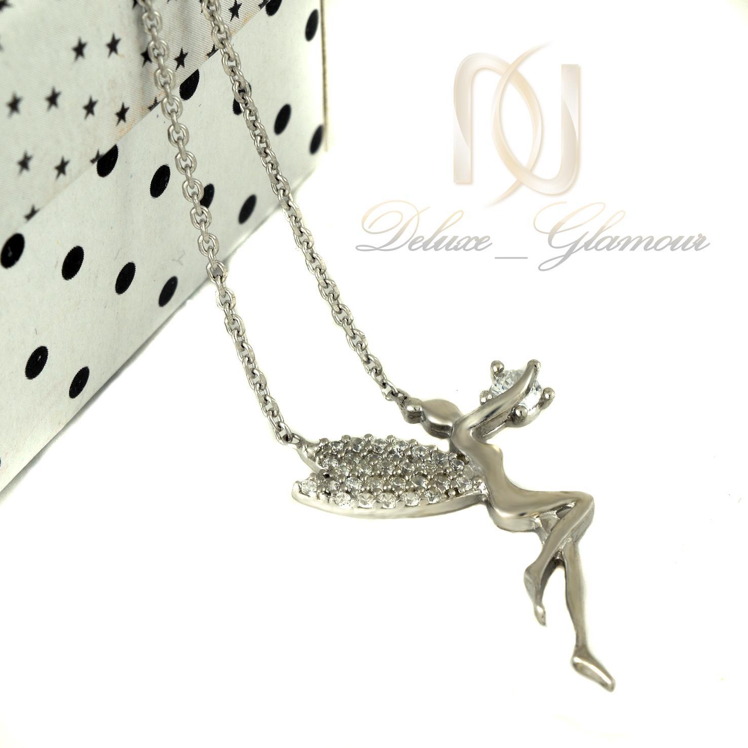 گردنبند نقره دخترانه طرح فرشته nw-n403 از نمای سفید