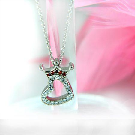 گردنبند نقره دخترانه طرح قلب و تاج nw-n411