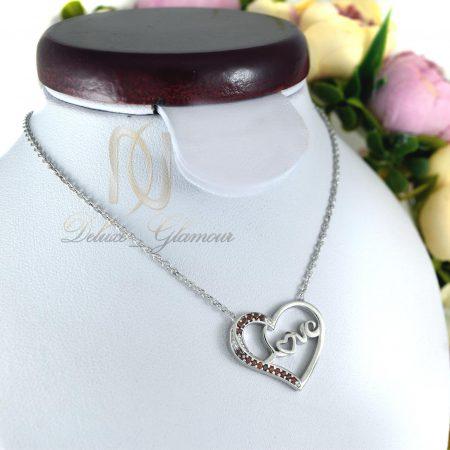 گردنبند نقره دخترانه نگین دار طرح قلب nw-n414