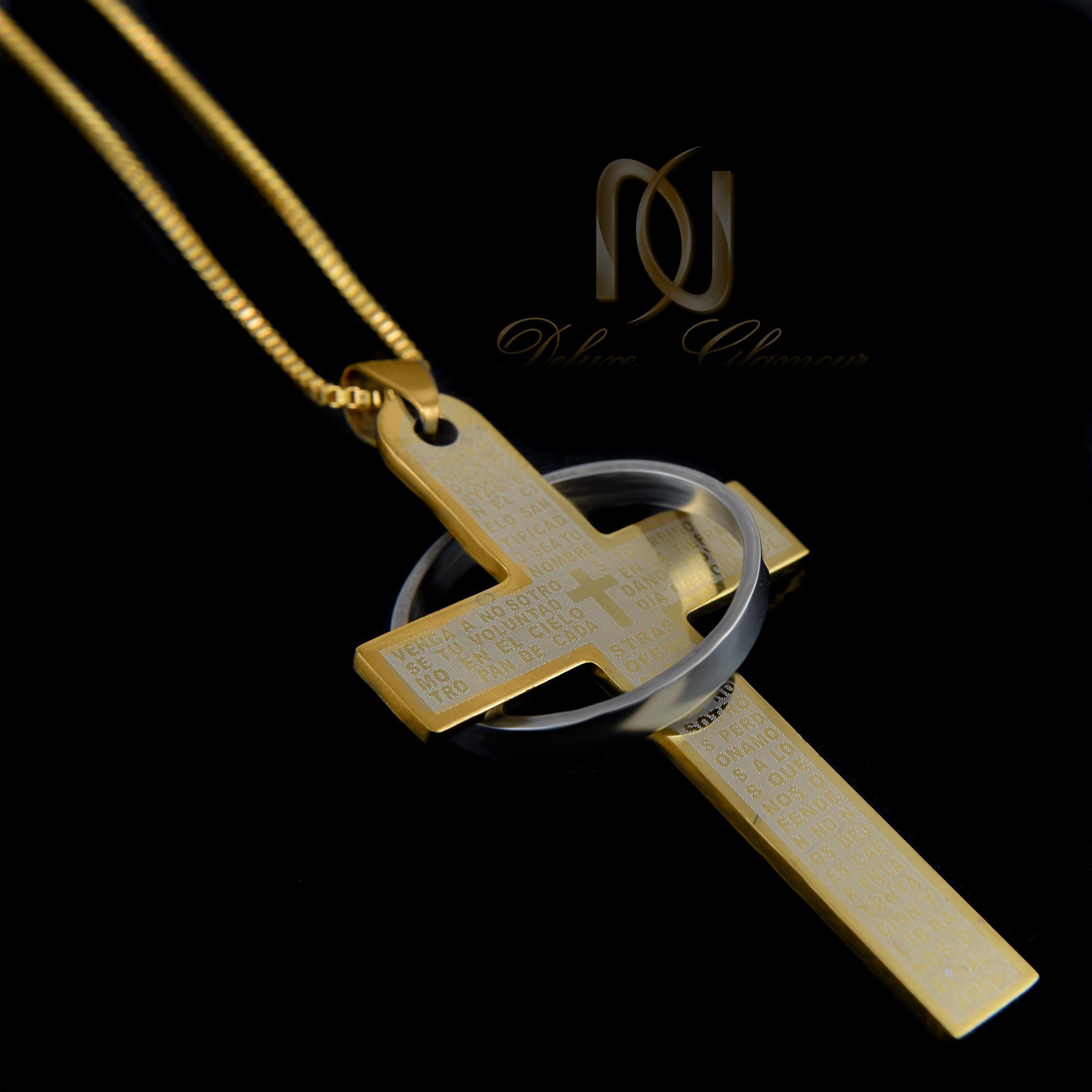 گردنبند پسرانه طرح صلیب طلایی nw-n401 (3)