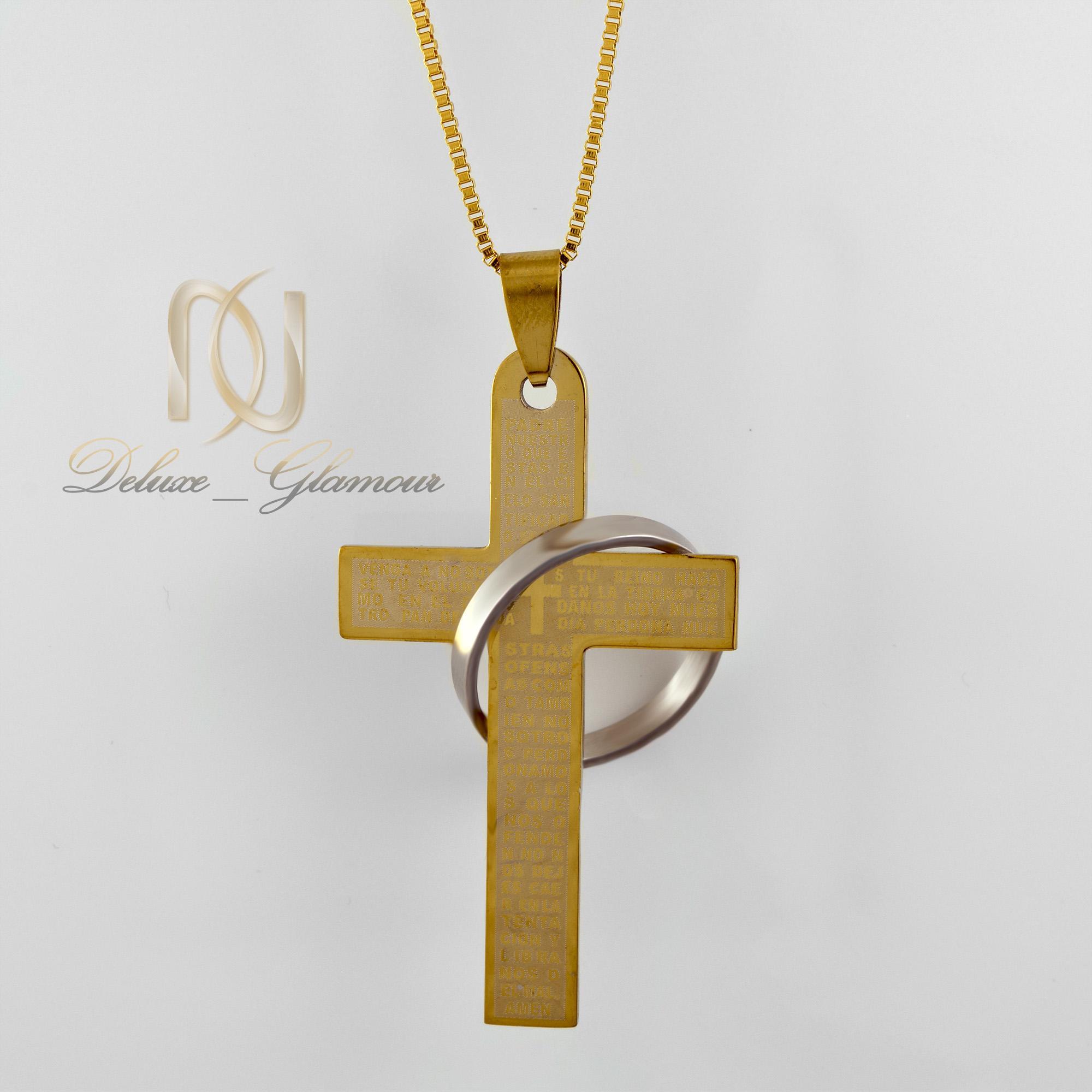 گردنبند پسرانه طرح صلیب طلایی nw-n401 از نمای روبرو
