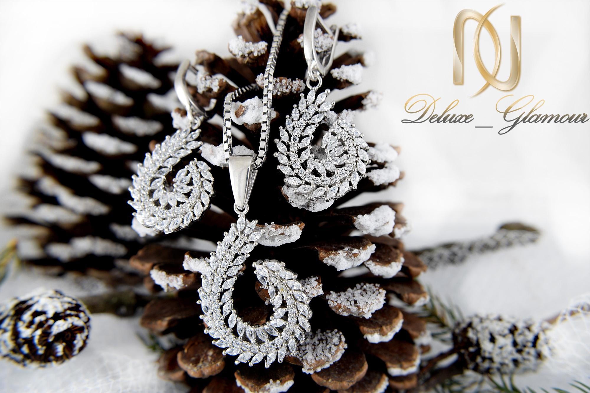 نیم ست جواهری نقره طرح خوشه Ds-n333 طرح زمستانی
