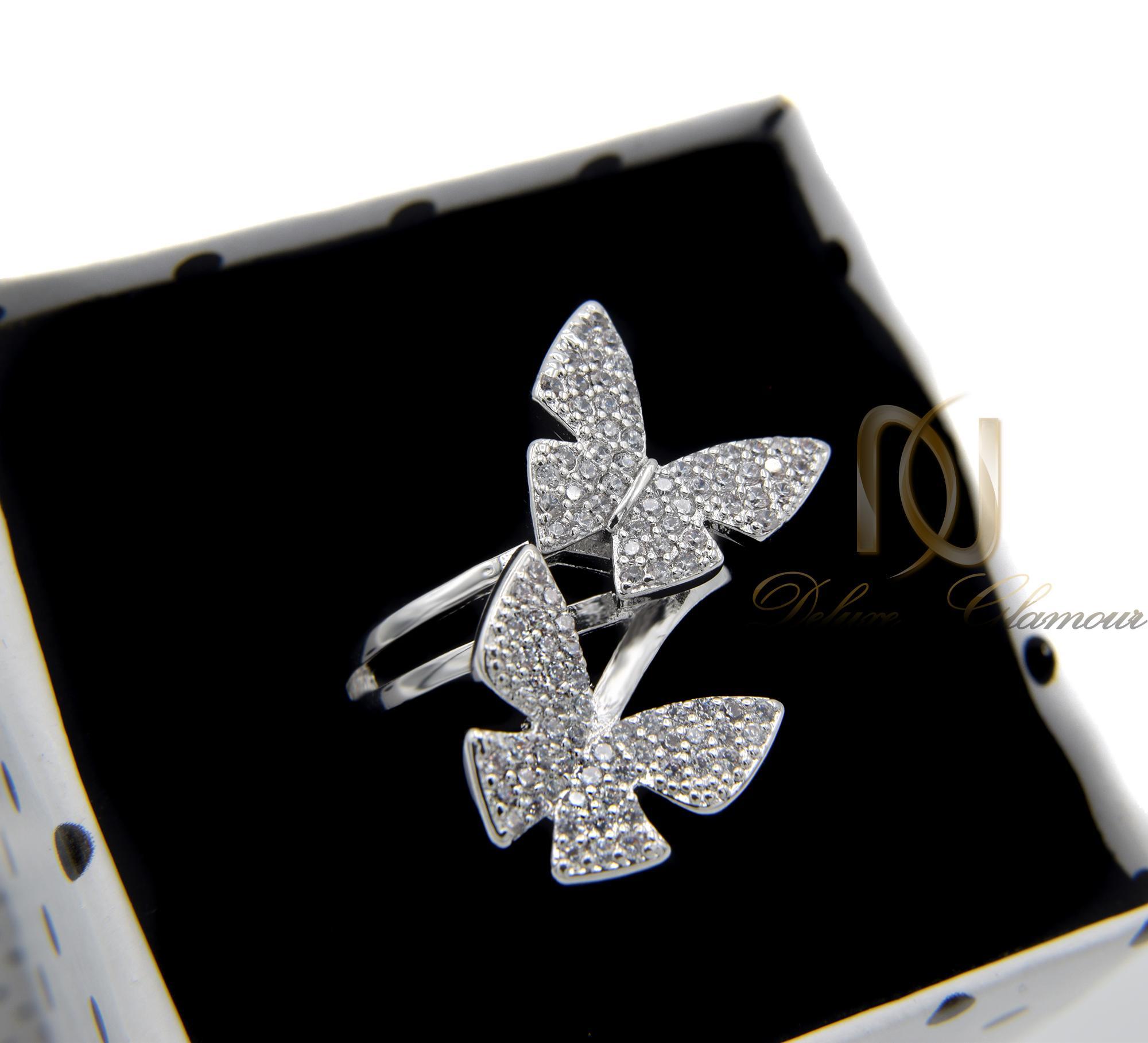 انگشتر دخترانه استیل طرح پروانه rg-n296 از نمای بالا