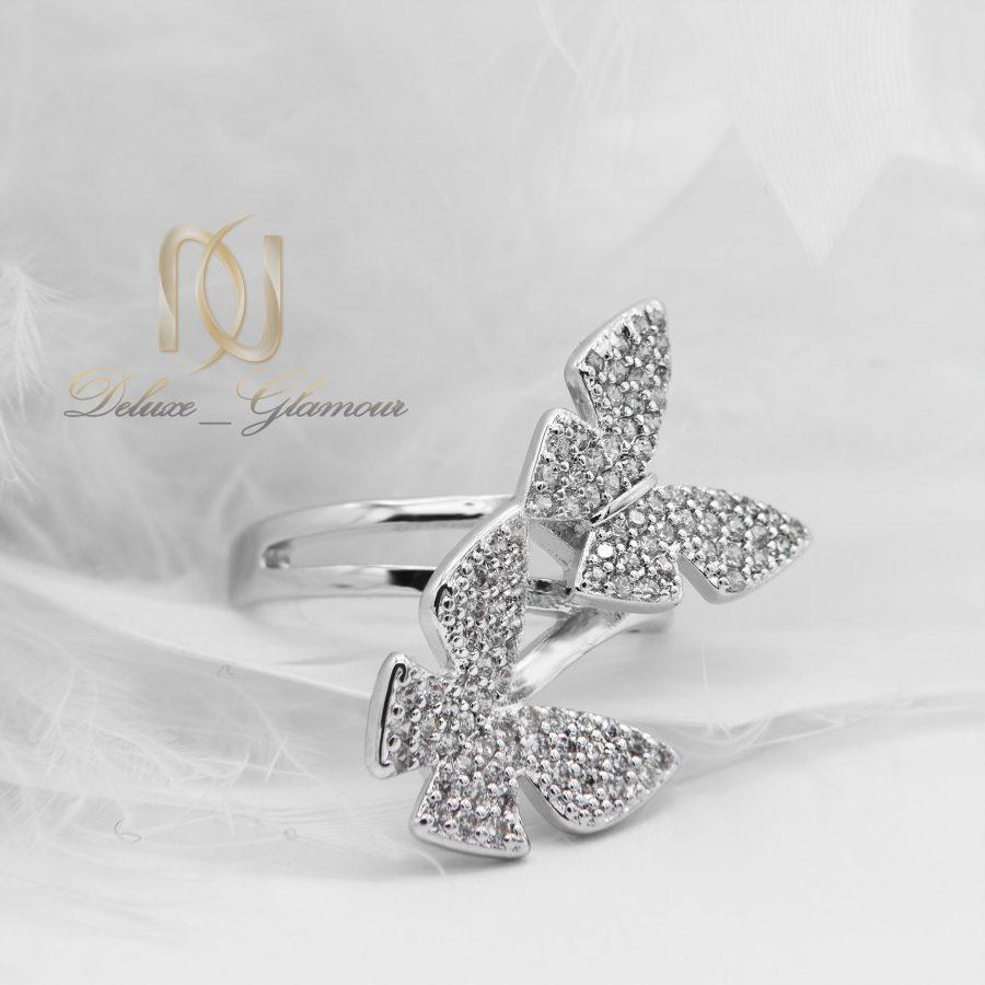 انگشتر دخترانه استیل طرح پروانه rg-n296 از نمای پایین