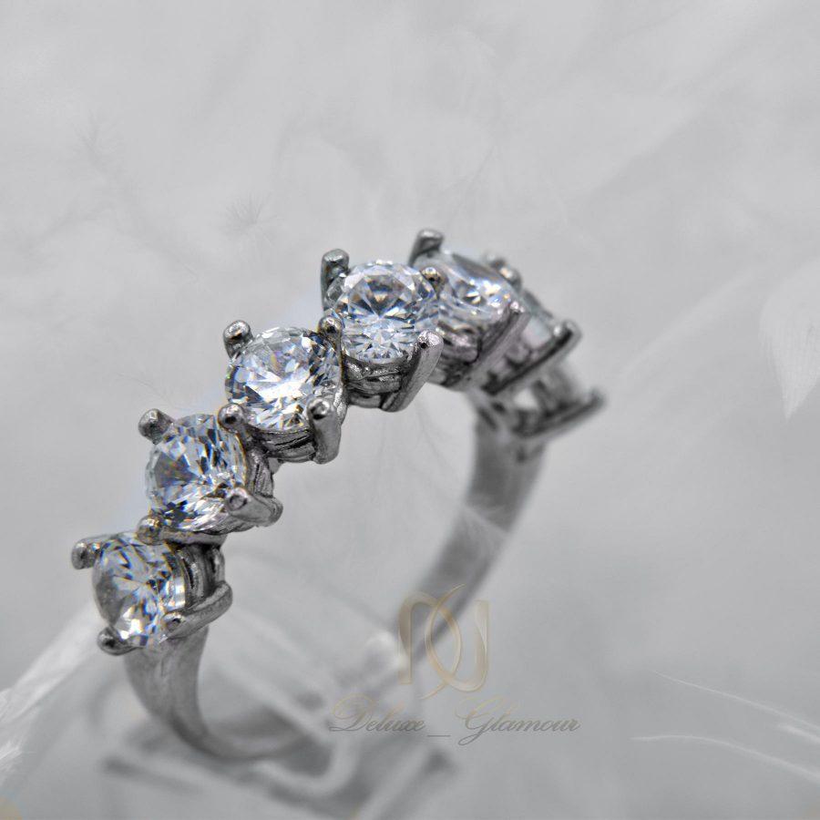 انگشتر دخترانه طرح نقره هفت نگین rg-n294 از نمای سفید