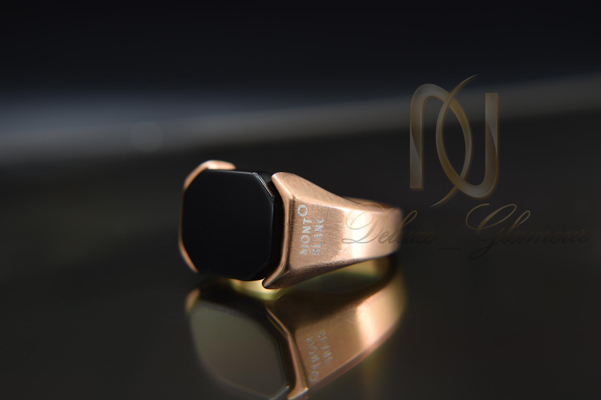 انگشتر مردانه مونت بلانک رزگلد rg-n283 از نمای مشکی