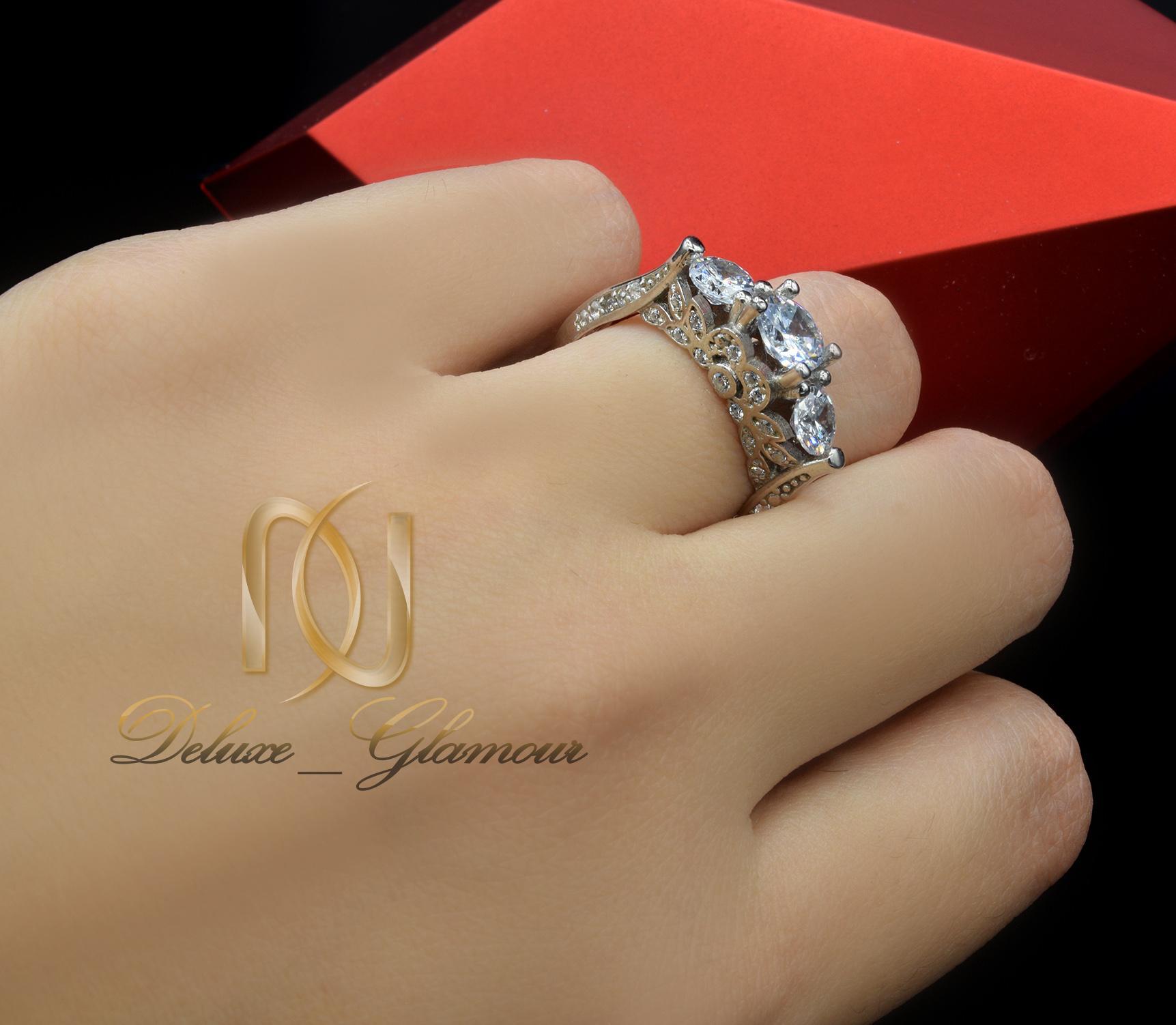 انگشتر نقره دخترانه سه نگینه rg-n284