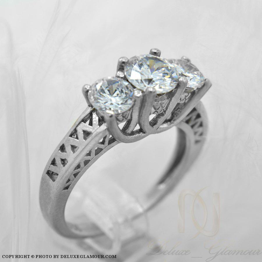 انگشتر نقره دخترانه طرح سه نگین rg-n289 از نمای سفید