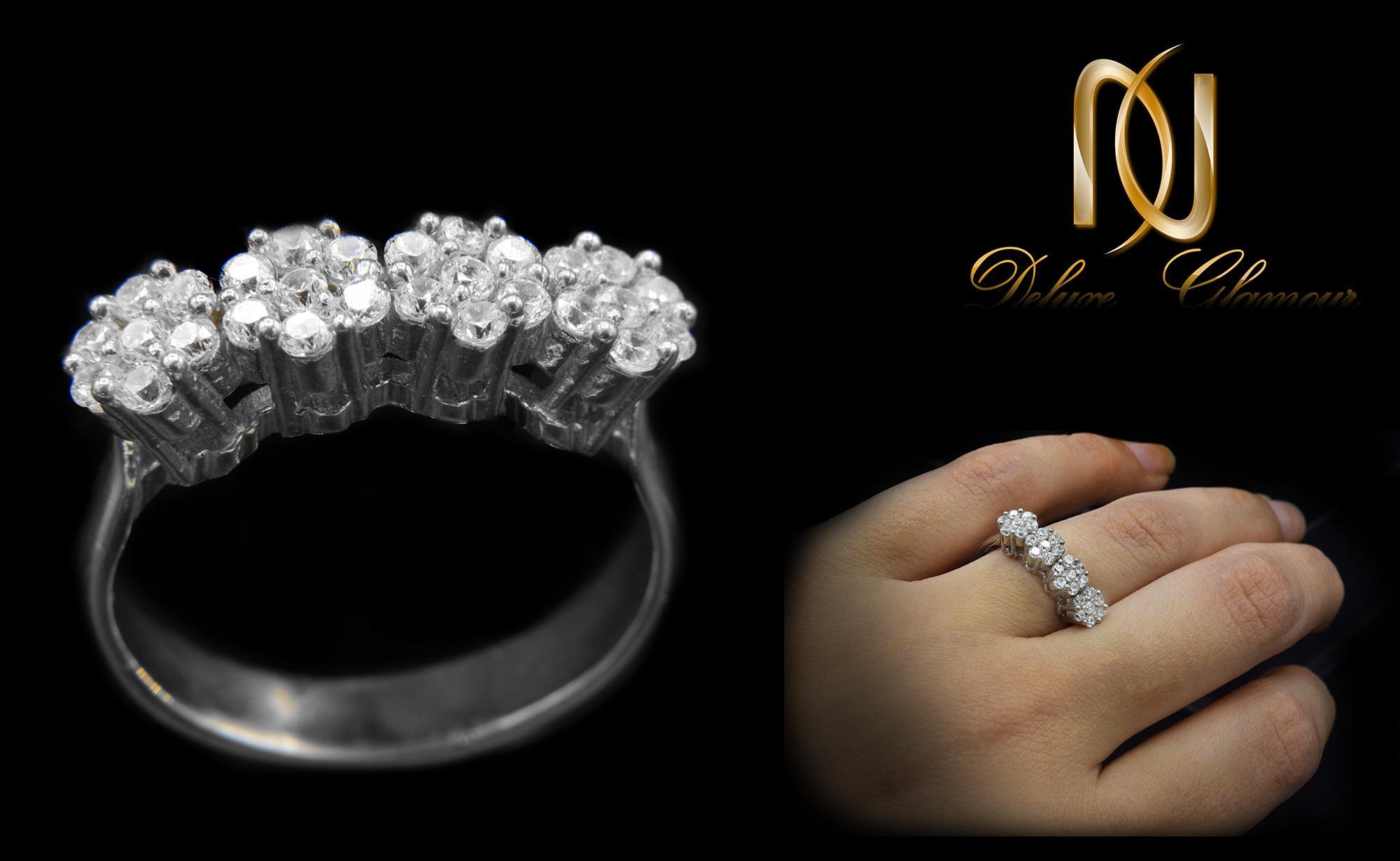 انگشتر نقره دخترانه طرح شکوفه rg-n291 از نمای مشکی