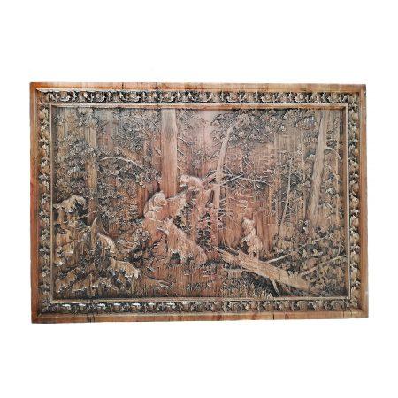 تابلو چوبی نقش برجسته سه بعدی منبت طرح خرس dc-06