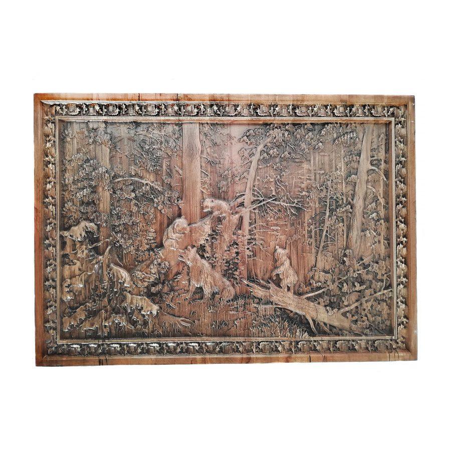 تابلو چوبی نقش برجسته سه بعدی منبت خرس طرح dc 06 | تابلو چوبی نقش برجسته سه بعدی منبت طرح خرس dc-06