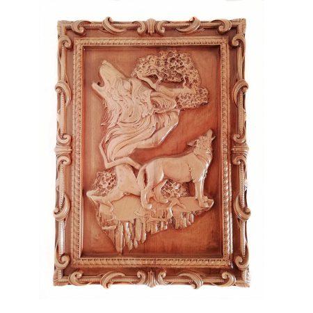 تابلو چوبی نقش برجسته سه بعدی منبت گرگ طرح dc-02