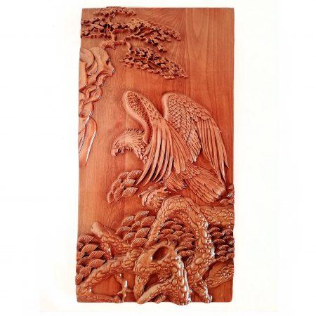 تابلو چوبی نقش برجسته سه بعدی منبت عقاب طرح dc-04