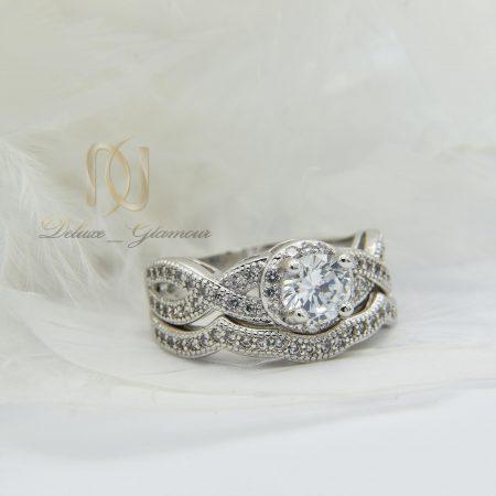 حلقه و پشت حلقه دخترانه طرح تک نگین rg-n295 از نمای سفید