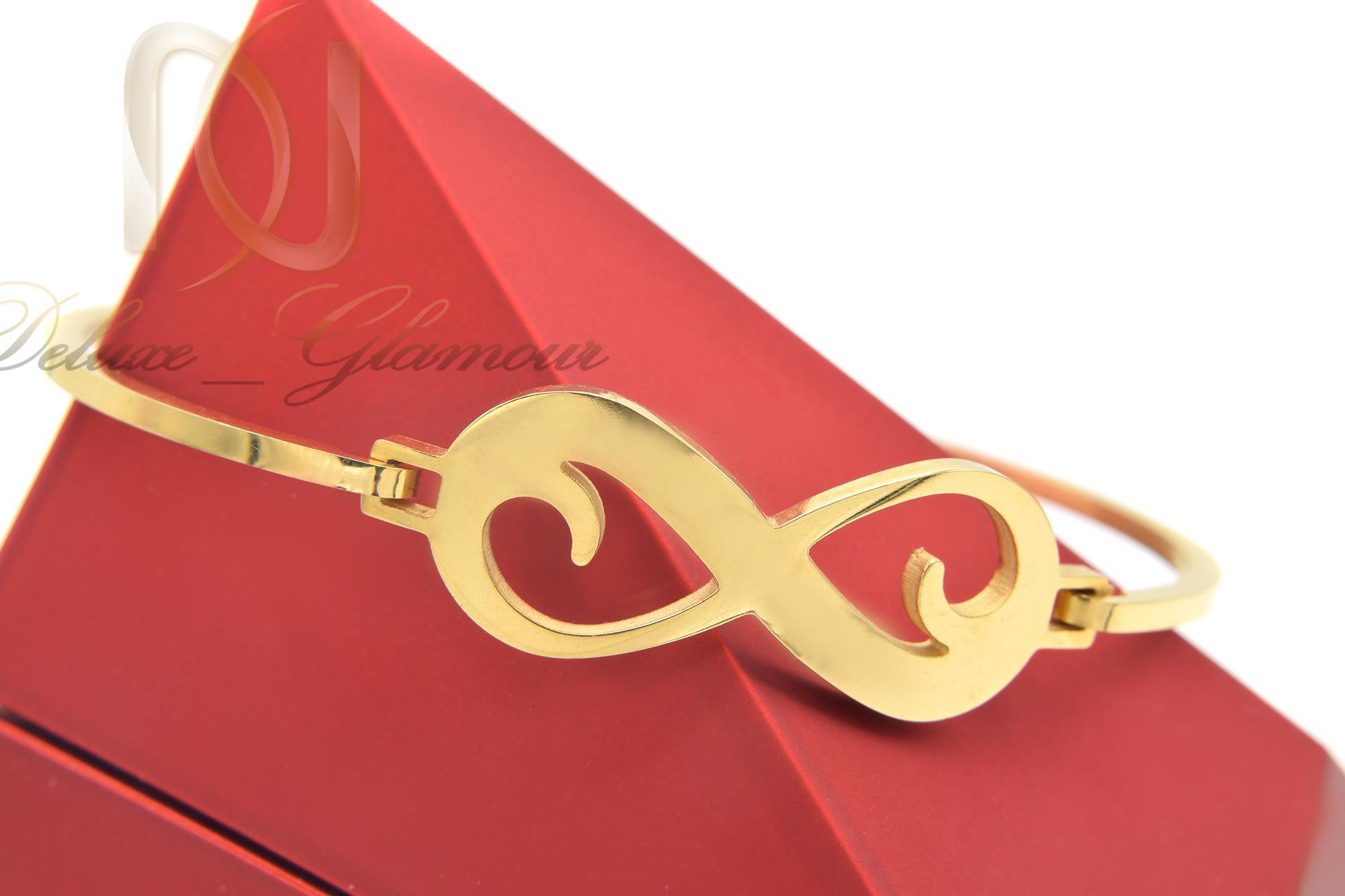 دستبند دخترانه طرح بی نهایت استیل ds-n379 از نمای روبرو