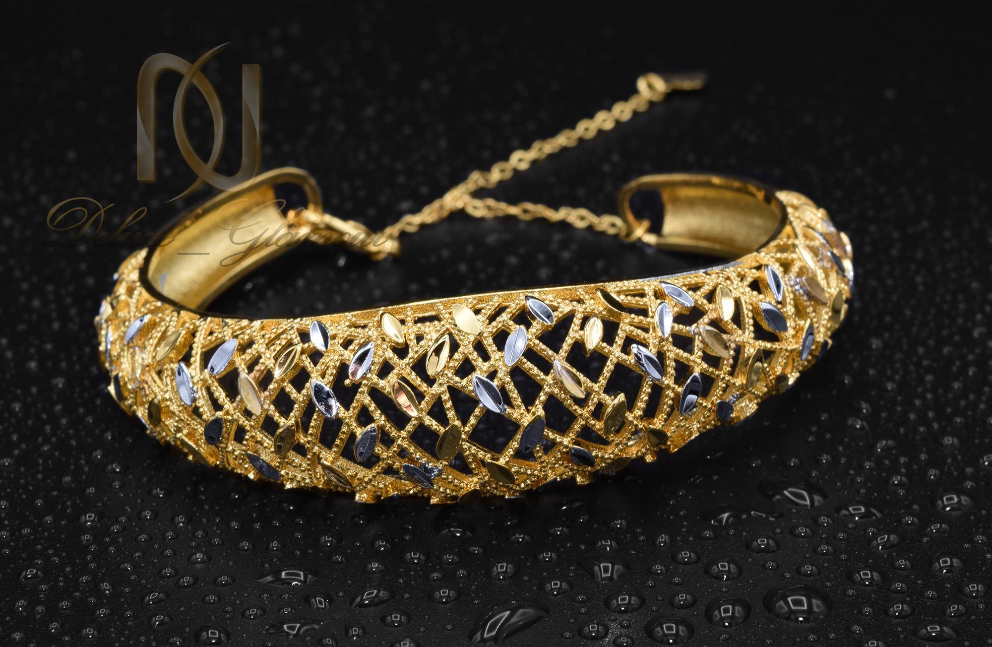 دستبند زنانه برنجی توری دو رنگ ds-n373 (4)