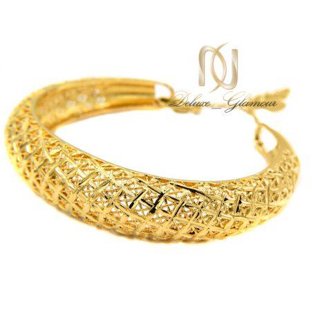 دستبند زنانه برنجی توری طرح طلا ds-n371 از نمای کنار