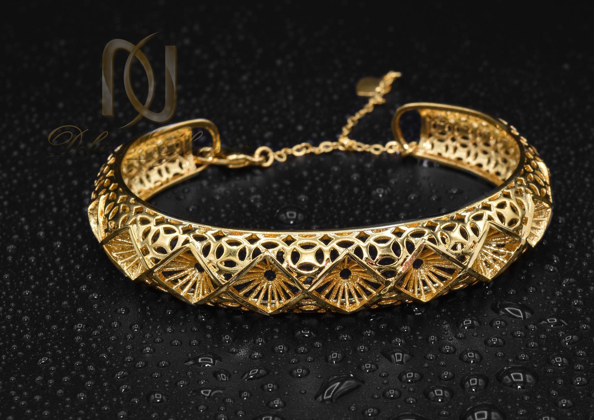 دستبند زنانه برنجی طرح لوزی طلایی ds-n372