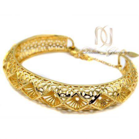 دستبند زنانه برنجی طرح لوزی طلایی ds-n372 از نمای کنار