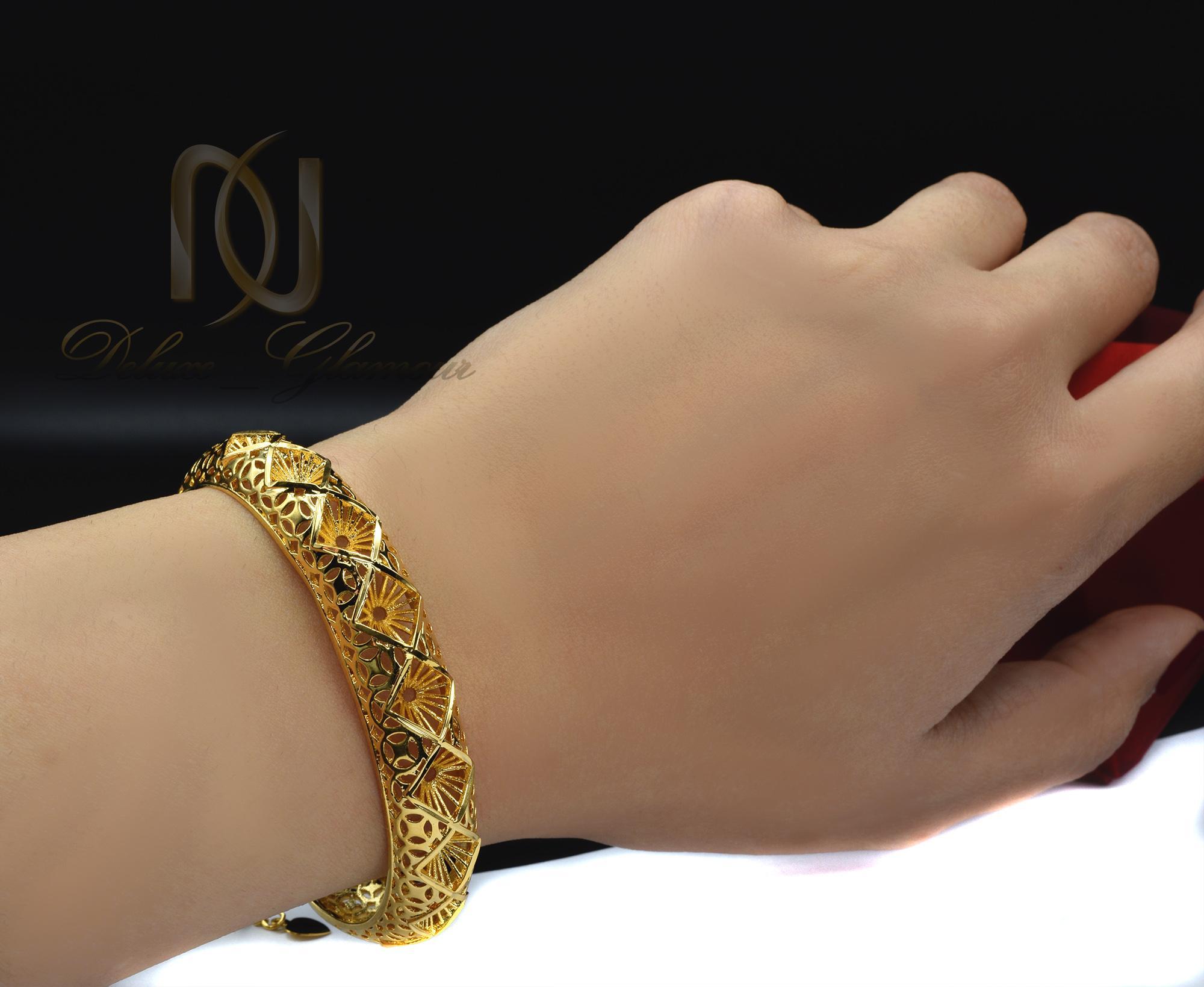 دستبند زنانه برنجی طرح لوزی طلایی ds-n372 (5)