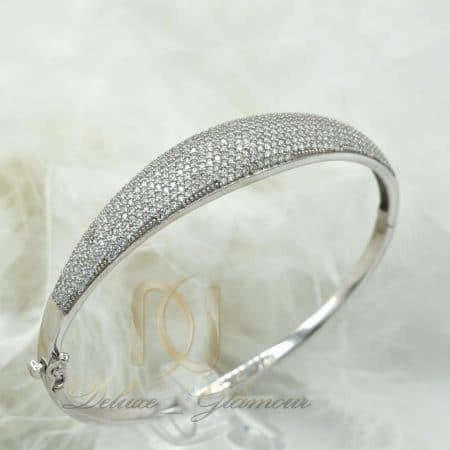دستبند زنانه نقره نگین دار طرح جدید ds-n377 از نمای روبرو