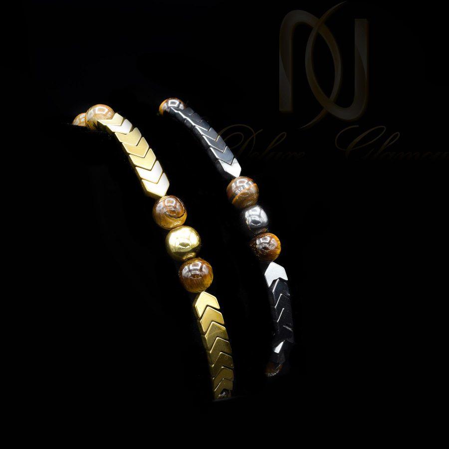 دستبند ست اسپرت سنگ چشم ببر و حدید za-n103