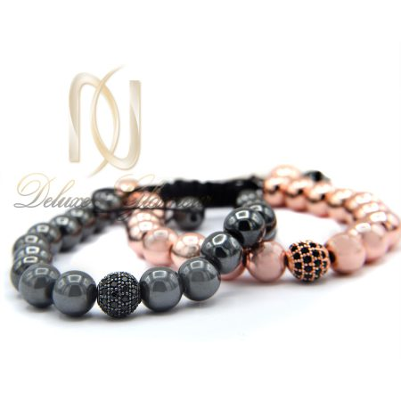 دستبند ست عاشقانه سنگ حدید za-n102 از نمای سفید