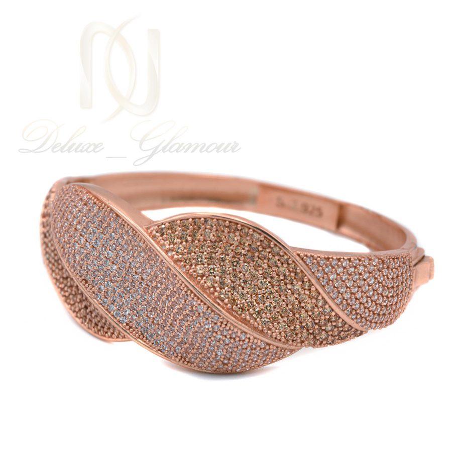 دستبند نقره زنانه رزگلد نگین دار خاص DS-N364 از نمای پایین