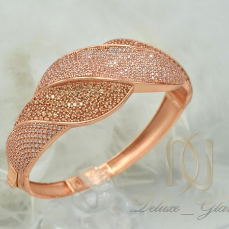 دستبند نقره زنانه رزگلد نگین دار خاص DS-N364 از نمای بالا