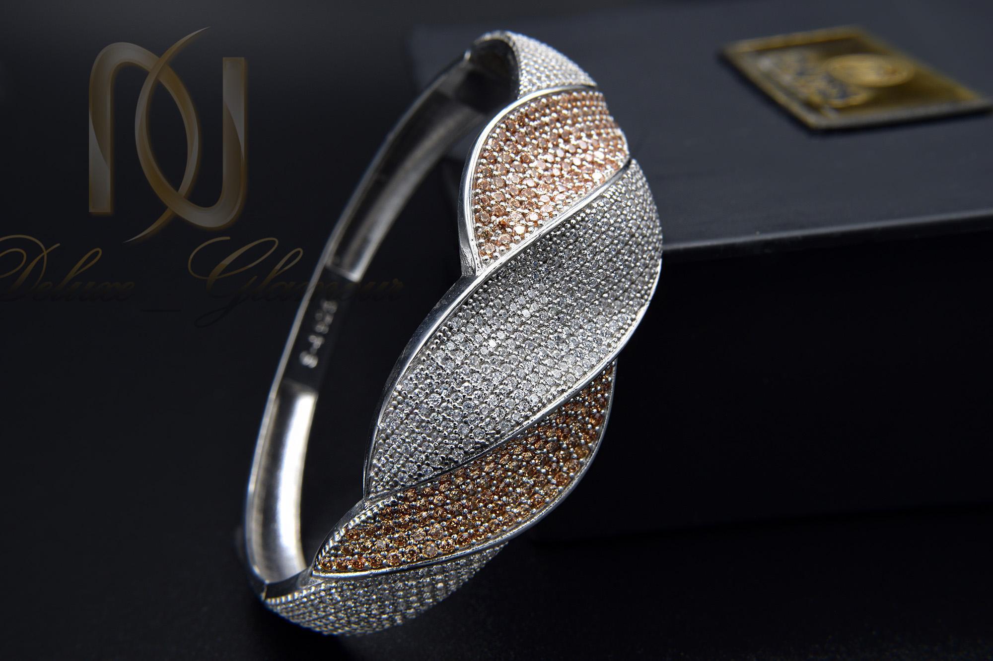 دستبند نقره زنانه طرح جدید دو رنگ DS-N362 از نمای مشکی