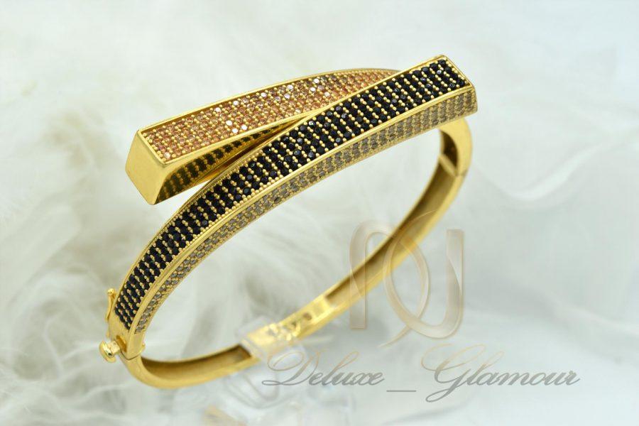 دستبند نقره زنانه طرح جدید طلایی DS-N375 آز نمای روبرو