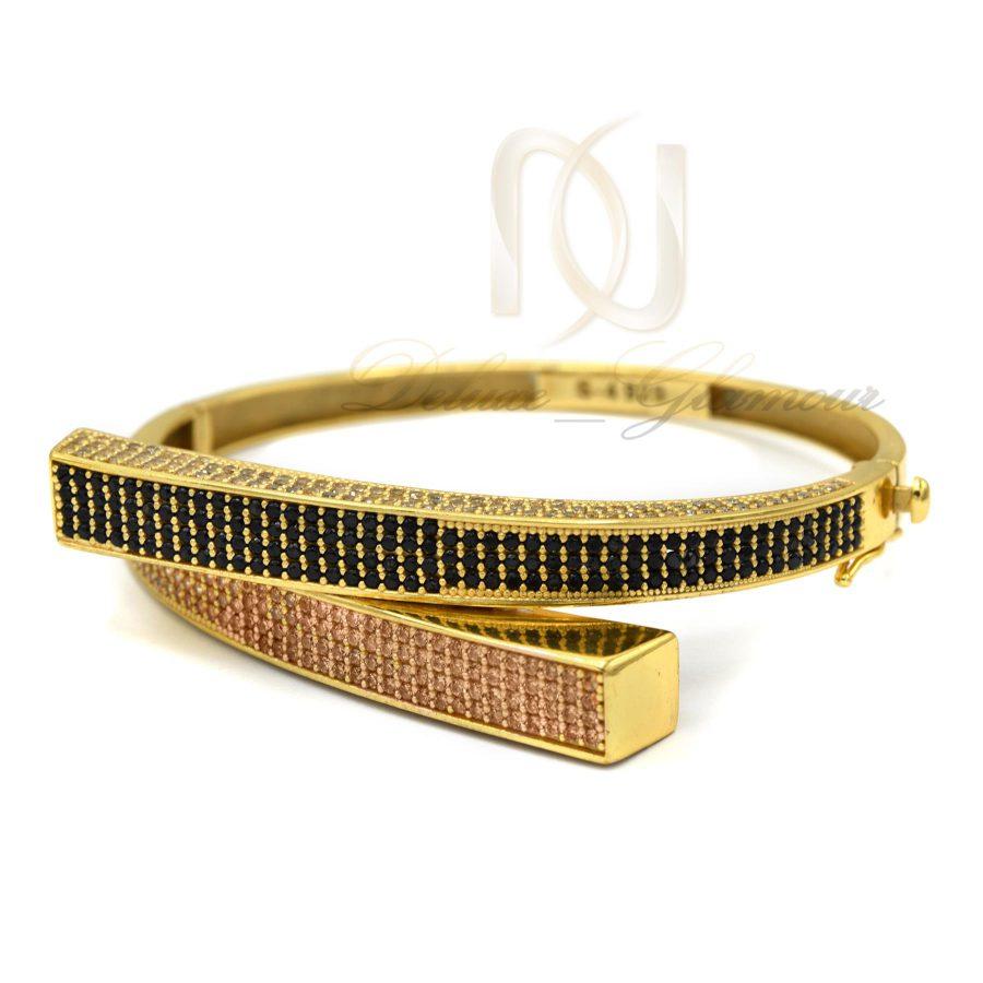 دستبند نقره زنانه طرح جدید طلایی DS-N375 از نمای سفید