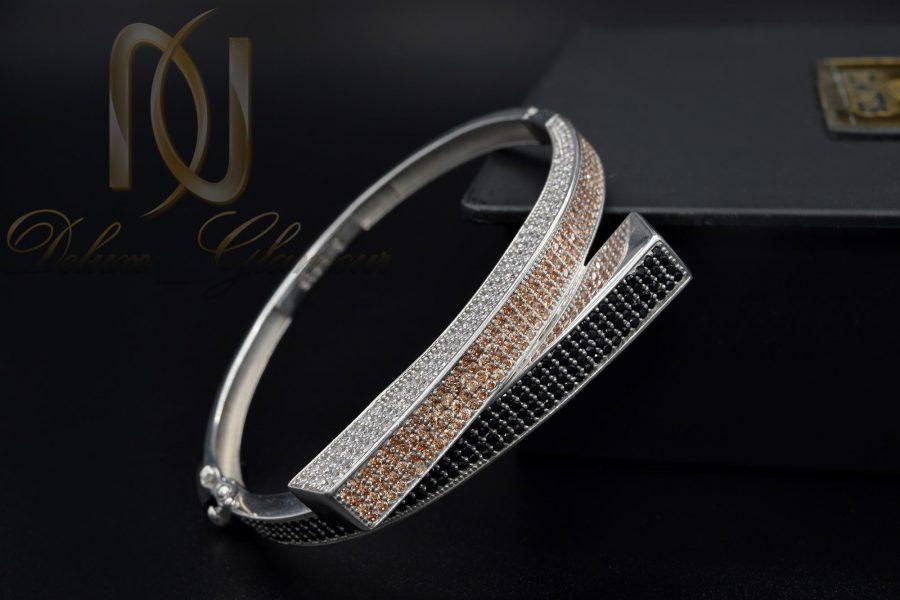 دستبند نقره زنانه طرح جدید DS-N374 از نمای مشکی