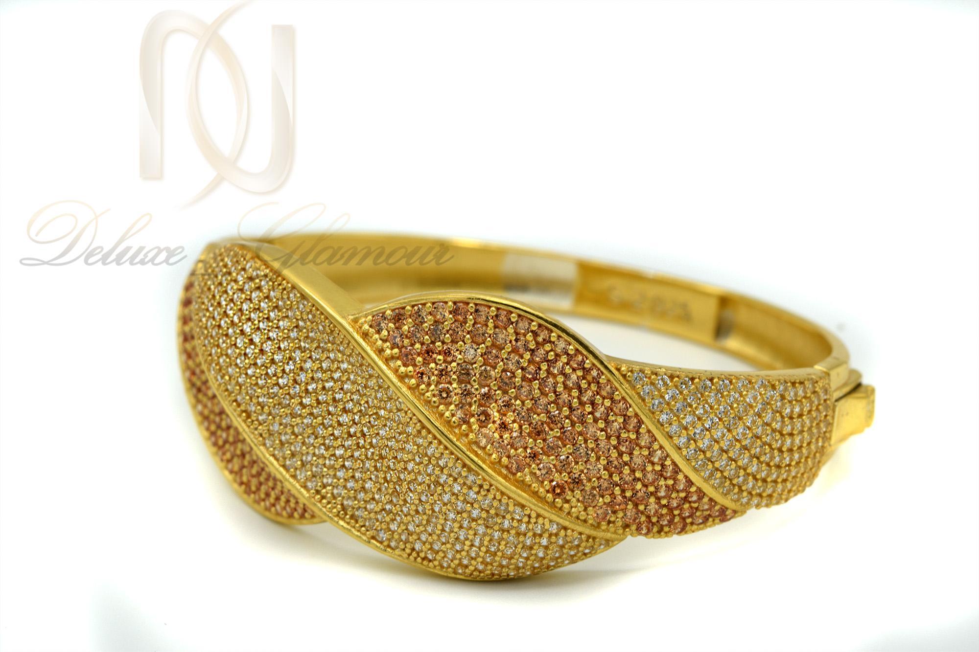 دستبند نقره زنانه طلایی نگین دار DS-N363 از نمای پایین