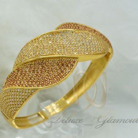 دستبند نقره زنانه طلایی نگین دار DS-N363