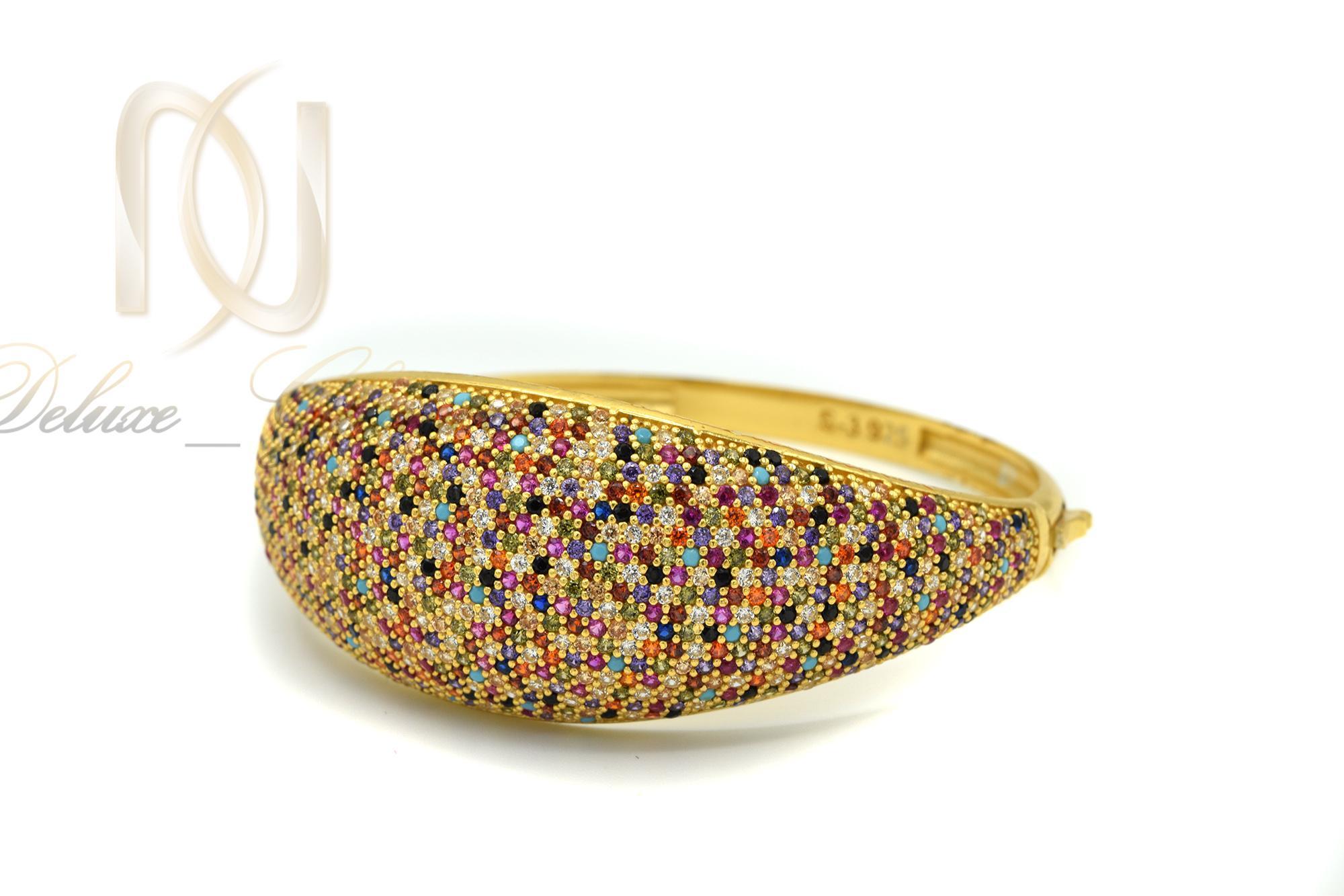 دستبند نقره زنانه طلایی نگین رنگی DS-N361 از نمای نزدیک