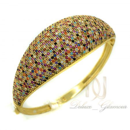 دستبند نقره زنانه طلایی نگین رنگی DS-N361