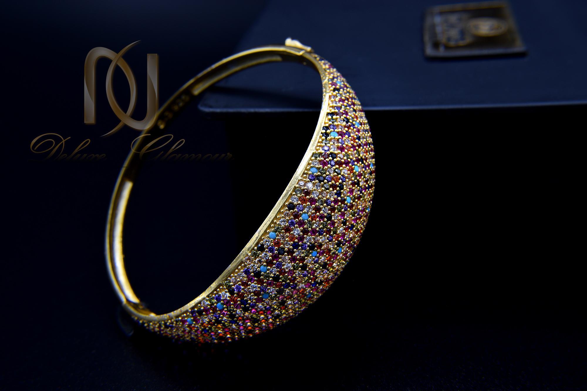 دستبند نقره زنانه طلایی نگین رنگی DS-N361 از نمای مشکی