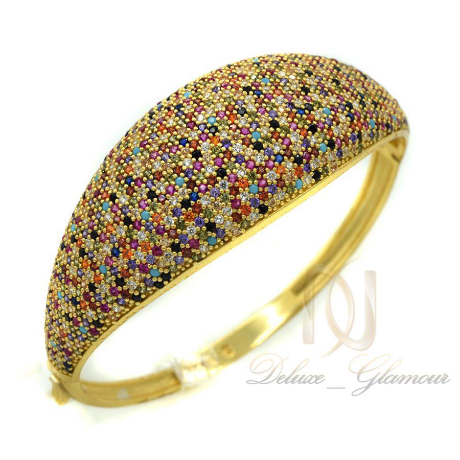 دستبند نقره زنانه طلایی نگین رنگی DS-N361 از نمای بالا