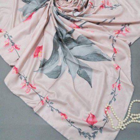 روسری ابریشم توییل کجراه دست دوزsr-n251